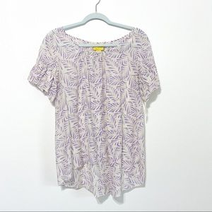 (Anthro) Maeve Leaf Print Blouse Size 10